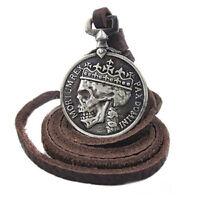 Herren Charme Silber Schädel Anhänger echten Legierung Leder Halskette Gesc L7X3