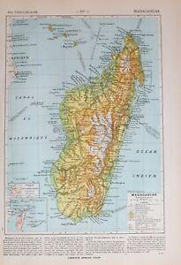 1913 MAP MADAGASCAR COMOROS ISLANDS FIANARANTSOA ANTANANARIVO AMBONGO