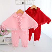 Newborn baby twins girl twins winter clothes warm padded jumpers bodysuit+cape