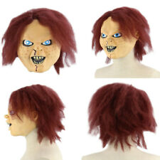 AC637 Seed Of Chucky Mask Latex Gore Halloween Pull Over Chuckie Mask With Hair