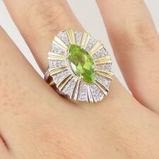 Green Tsavorite Garnet 0.32ctw Diamond Modern 14K Yellow Gold Ring Size 7.5 LHI2