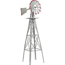 4ft. Ornamental Decorative Garden Windmill Weather Vane- Galvanized w/ Red Tips