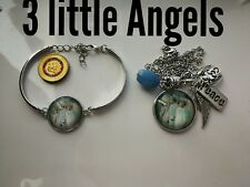 Code 426 3 little Angels agate infused necklace n bracelet peace wrap me up sign