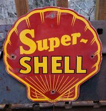 VINTAGE SUPER SHELL GASOLINE PORCELAIN SIGN, SERVICE STATION, GAS PUMP PLATE