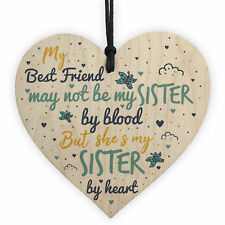 Sister By Heart Best FRIEND Gift Heart Christmas Friendship Gift Birthday Plaque