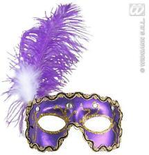 Purple Eyemask Eye Mask With Gems & Feathers Masquerade Ball Fancy Dress