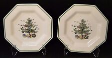 """TWO Nikko Christmastime Bread Plates 6 1/2"""" Christmas Tree 2 EXCELLENT!"""