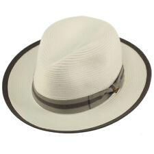 """Dapper Men's Summer Light Panama Derby Fedora Wide 2-1/4"""" Brim Sun Hat White S/M"""