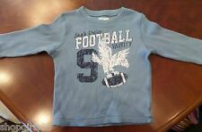 CHILDRENS PLACE  BLUE WAFFLE  FOOTBALL LONG SLEEVE SHIRT - SIZE 3T