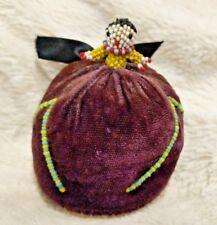 Old hand made pin cushion beaded lady beadwork seed bead sewing