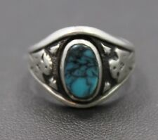 Bell Sterling Silver Small Oval Turquoise Eagle Ring