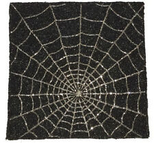 "Halloween Spider Web Black & Silver Beaded Square 15"" Single Charger Placemat"