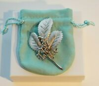 Vintage Signed Crown Trifari Leaves Berries Holiday Holly Pin Brooch ~ Large