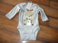 NEW Carter's 3 Month Baby Unisex Boy/Girl Christmas Reindeer Bodysuit NWT