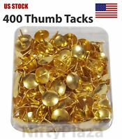 Lot of 400 Brass Gold Steel Thumb Tacks Push Pins No Rust - US STOCK