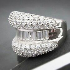 925 Silver 5.2ct White Topaz Women Jewelry Wedding Engagement Ring Size 6/m