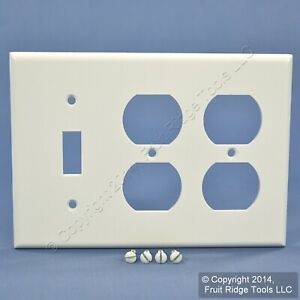 New Leviton White 3G Combo Switch/Outlet Wallplate Duplex Receptacle Cover 88047