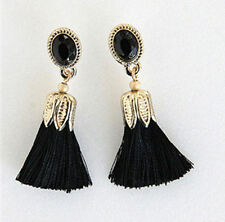 Tassel Earrings Black Silk thread penh drop Gold jewelry lenh fringe duster cz