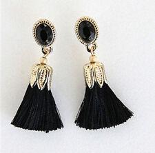 Tassel Earrings Black Silk thread penh drop Gold jewelry lenh fringe duster cz