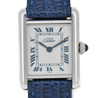 CARTIER Mast Tank SM Ref.1614 Silver 925/Leather Quartz Women's Watch A#93912