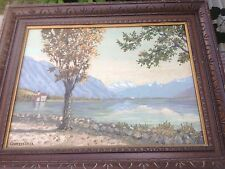 Original Painting by Kurt Griesshaber Fall Landscape Lake House Mountains