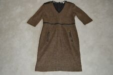 Burberry Brown Wool Blend Leather Trim Gold Zip Up Dress Womens UK 12 / US 10