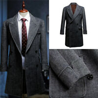 Herringbone Men Overcoat Double-Breasted  Causal Business Work Long Coat