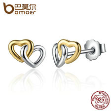 Bamoer S925 Sterling Silver Stud Earrings Double Heart For Women Jewelry Hot