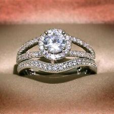 Ct Diamond Engagement Rising Split Shank Ring Bridal Ring Set 14K White Gold 2.1