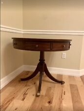 Ethan Allen Newport Rent Drum Tooled Leather Mahogany Table w/ 4 Drawers 34-8415