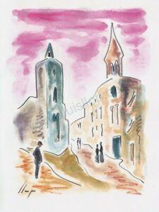 Llop - Reus el Campanaret - aquarel·la original 26x19