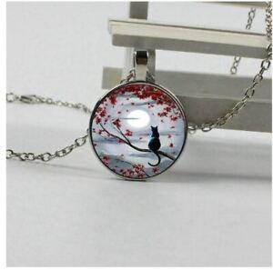 Collier Fille Pendentif Romantique Chat et Lune + Chaine - Bijoux des Lys
