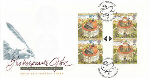 (67218) GB FDC GUTTER PAIR BLOCK Shakespeares Globe Stratford-upon-Avon 1995