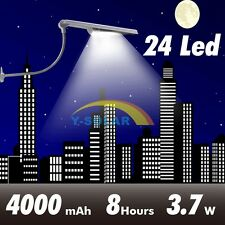 24 LED 3.7W Super Bright   Solar Lamp Street  Light Lampposts 4000mAh Battery