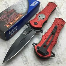 DARK SIDE BLADES Skull Punisher Red Tactical Rescue Pocket Knife DS-A014RD