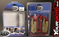 R&G MOTORCYCLE HANDLEBAR TIE DOWN BAR STRAPS & RATCHETS FOR TRAILERS TRACK DAYS