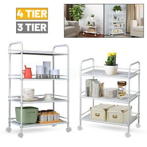 3/4 Tier Slim Kitchen Food Storage Trolley Cart Rack Tray Shelf Rolling Wheel