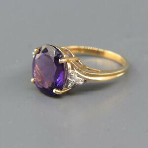 Diamond & Amethyst 10K Gold Ring Estate Ring