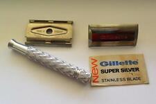 VTG 1950th Gillette Safety Razor Made in England w/new sealed Super Silver blade