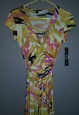 Snap Maxi Dress Stretch Yellow/Coral Geo Print Cross over V-neck Small  NWT!