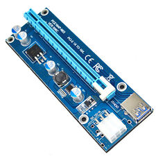 Blue PCI Express Riser Extend Card PCI-E 1x to 16x USB Cable Sata Power Cord HOT