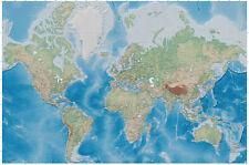 Carte du monde papier peint relief carte la fresque Miller projection xxl poster