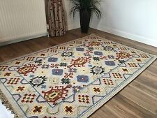 ❤️Assam Geometric Wool Cotton Kilim Rug 90cm x 150cm Pale Brown Cream Weave
