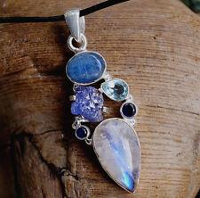 Largos 5Cm Plata Colgante de Collar Cianita Topacio Azul Zafiro Piedra la Luna