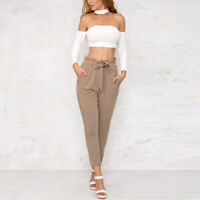 Womens Solid Chiffon High Waist Harem Pants Bow Tie Drawstring Pencil Trouser WA