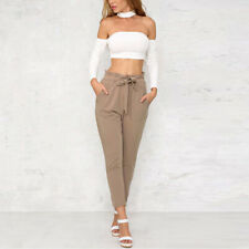 Womens Solid Chiffon High Waist Harem Pants Bow Tie Drawstring Pencil Trouser WA