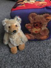 "VINTAGE Miniature Steiff Teddy Baby Bear W/ ID Beige Mohair 3.5"" Stands Too!"