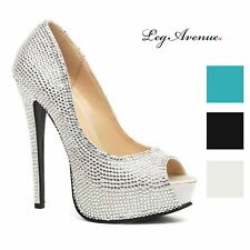 57eb6c5102b274 Leg Avenue Women s Glamour Couture Satin and Rhinestone Peep Toe Platforms  Heels