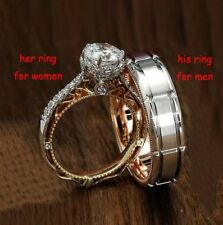 Women Men Jewelry 925 Silver White Topaz Wedding Engagement Couple Ring Size6-13