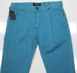 New! Cesare Attolini Turquoise Blue Slim Fit Casual Jean Style Pants Jeans 32x33